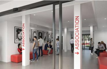 visuel Nouveau Bâtiment A2 ouvert sur la verrière du Pôle bibliothécaire