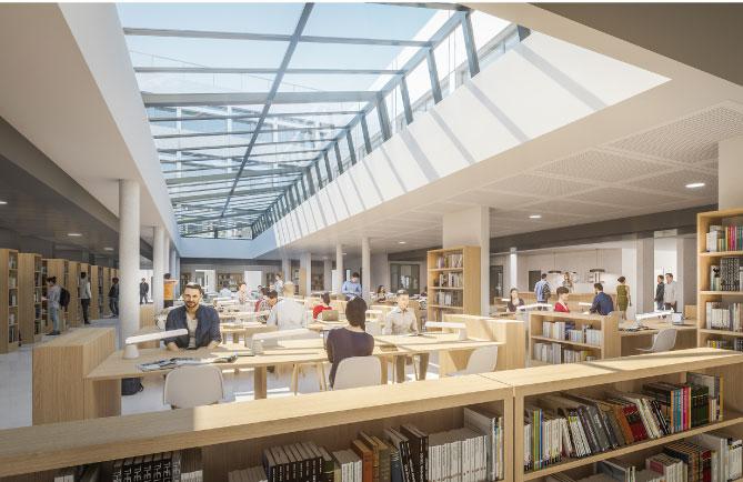 visuel vue intérieure du Pôle Bibliothécaire créé